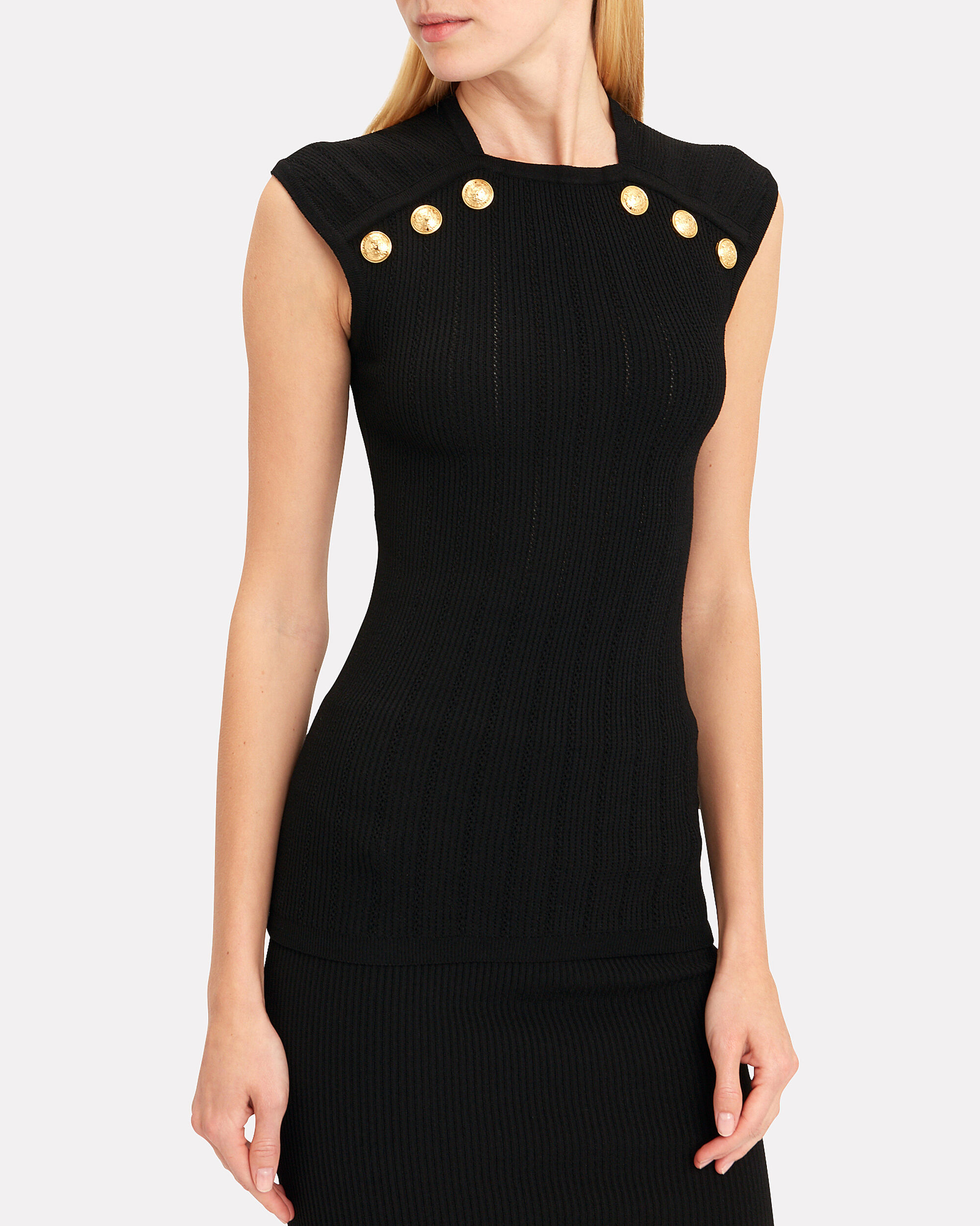 Button-Embellished Knit Top, BLACK, hi-res
