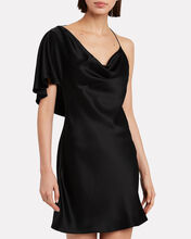 Cowl Neck Draped Mini Dress, BLACK, hi-res
