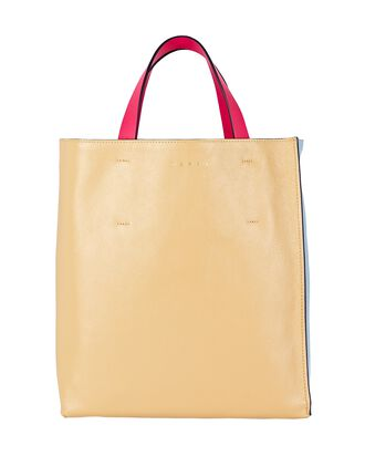 Small Museo Leather Tote Bag, BEIGE, hi-res