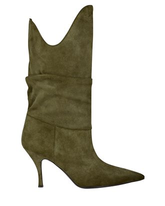 Venus Slouch Suede Boots, GREEN, hi-res