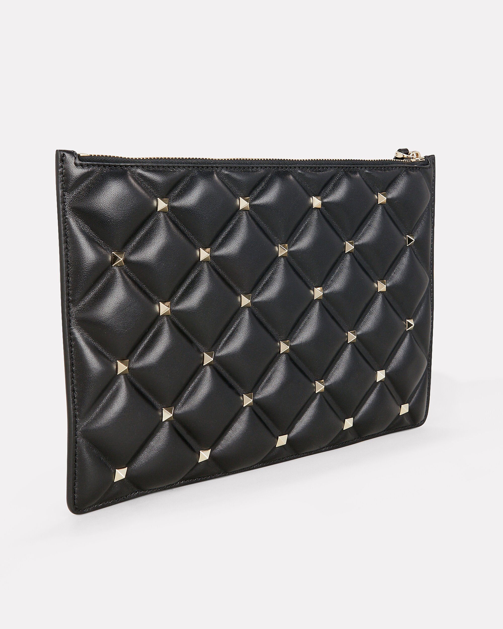 Candy Studded Quilted Pouch, BLACK, hi-res