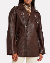 Grained Leather Oversized Jacket, BROWN, hi-res