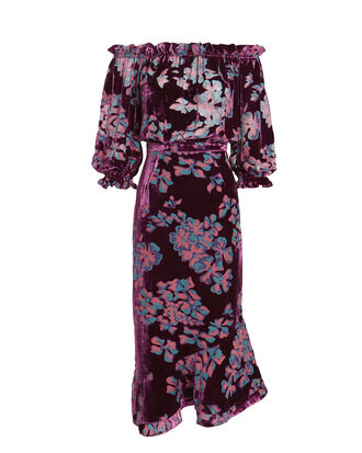 Grace Off-Shoulder Floral Dress, PURPLE/FLORAL, hi-res