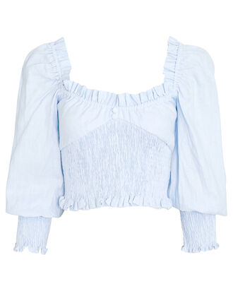Bel Rose Puff Sleeve Top, BLUE-LT, hi-res