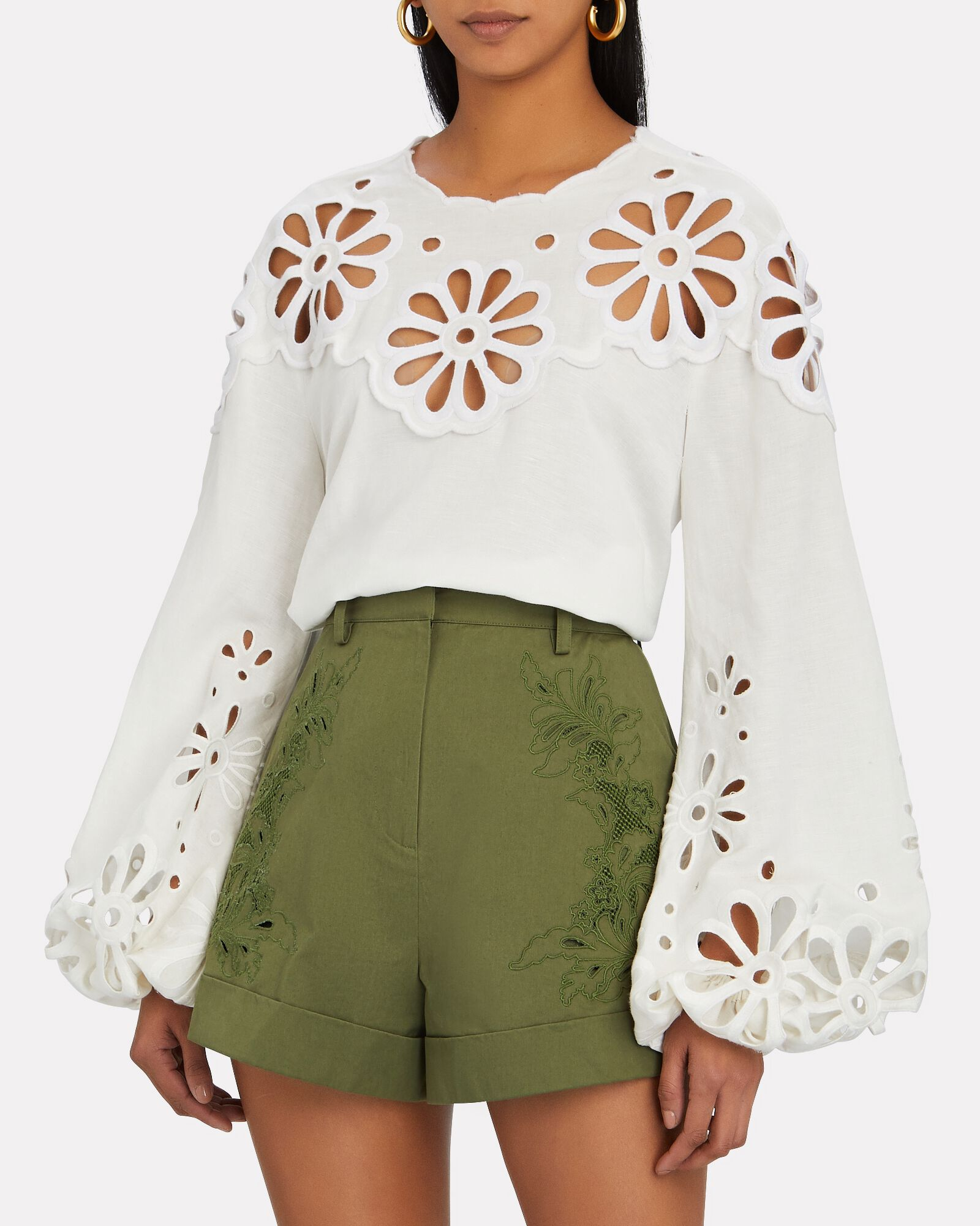 Sora Broderie Anglaise Puff Sleeve Top, WHITE, hi-res