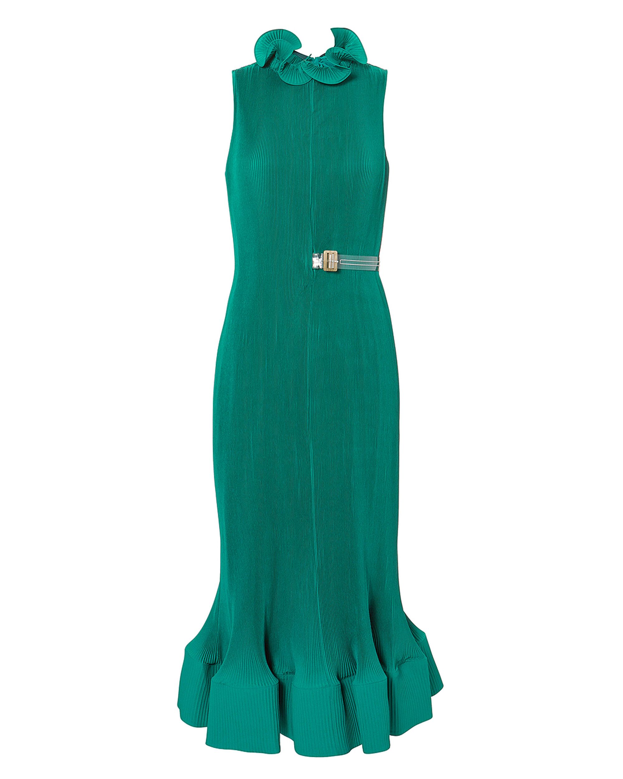 Pleated Belted Green Dress, GREEN, hi-res