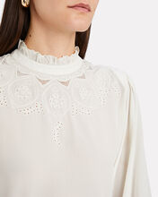 Justine Lace-Trimmed Silk Blouse, IVORY, hi-res