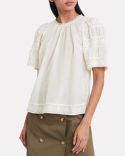 Audrey Embroidered Blouse, WHITE, hi-res