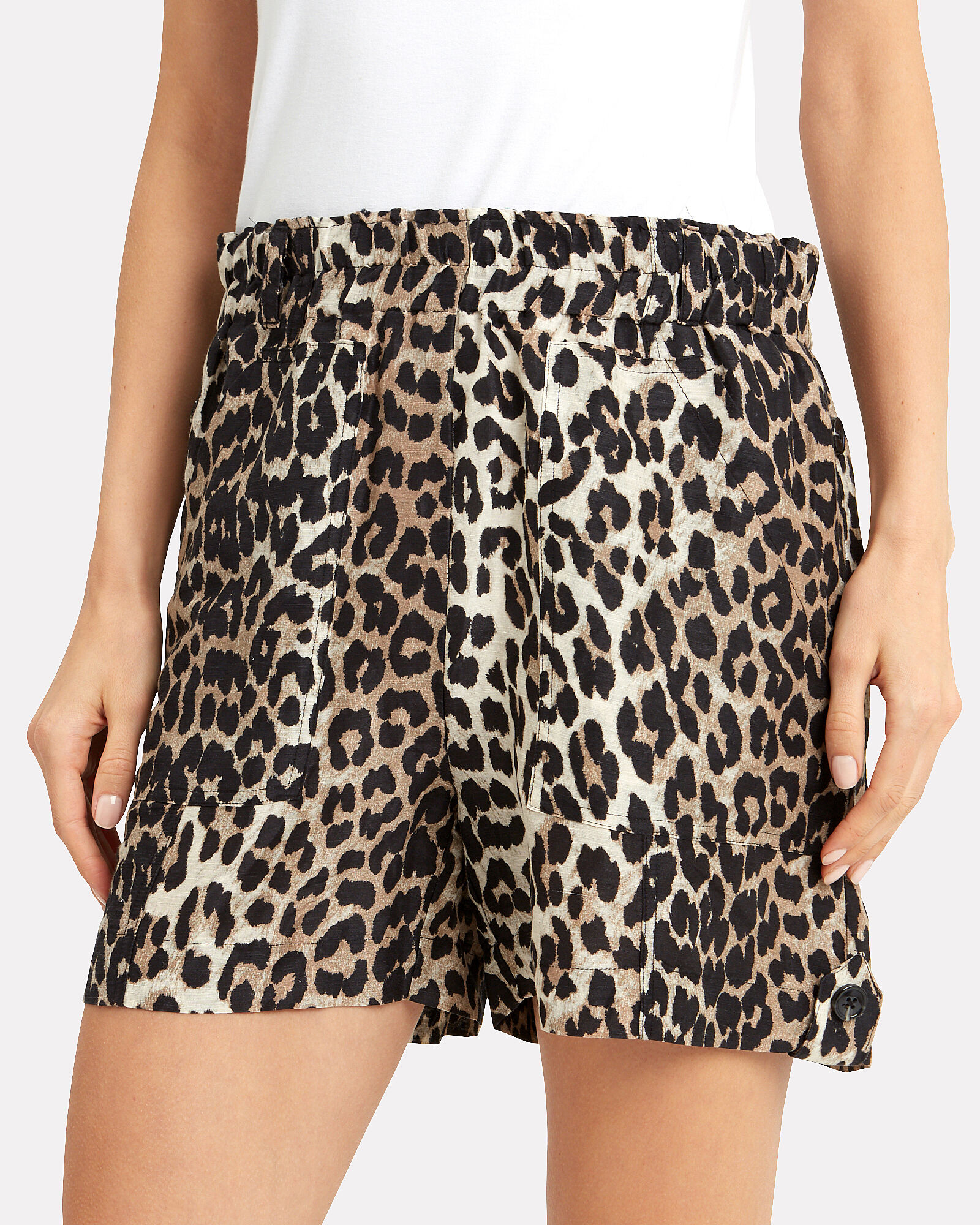 Linen Leopard Print Shorts, BROWN/BLACK, hi-res