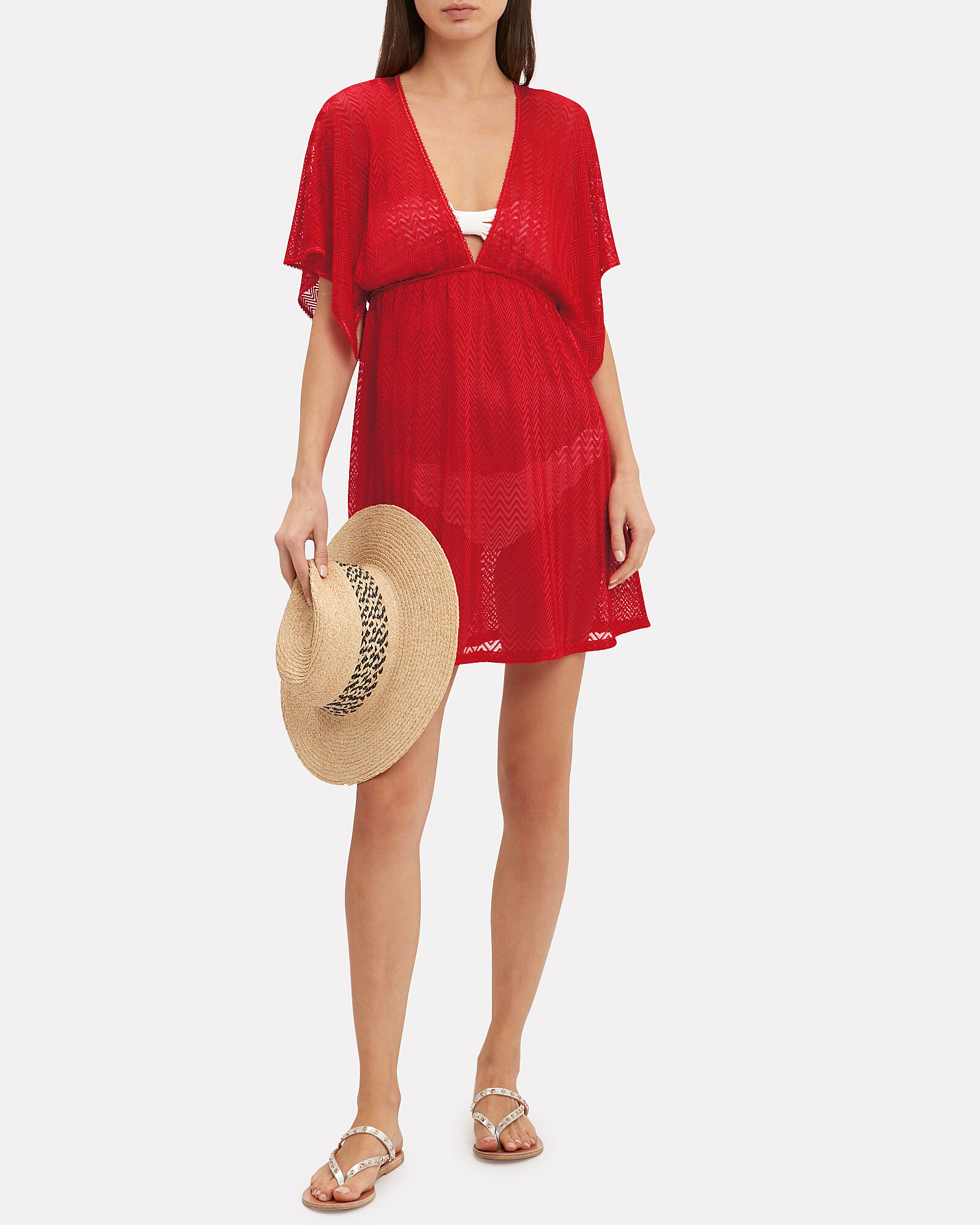 Knit Cover-Up Dress, CORAL, hi-res