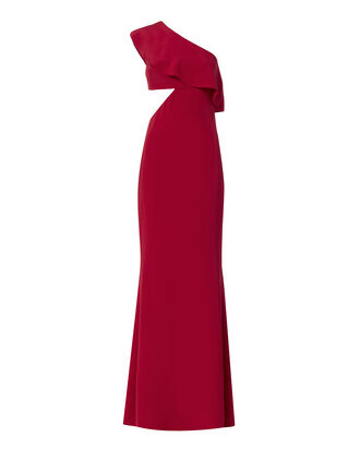 Ruffled One Shoulder Cutout Detail Gown, RED, hi-res