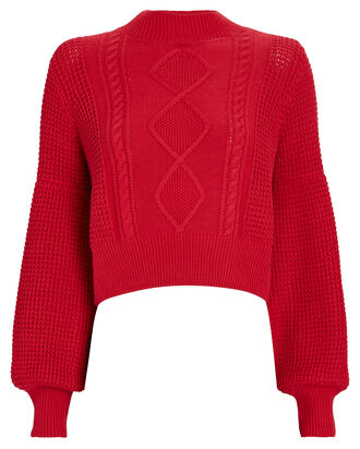 Warner Cropped Cable Knit Sweater, RED, hi-res