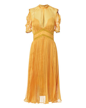 Cold Shoulder Pleated Midi Dress, MUSTARD, hi-res
