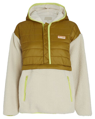 The Sher-Puff Zip Pullover, IVORY/OLIVE, hi-res