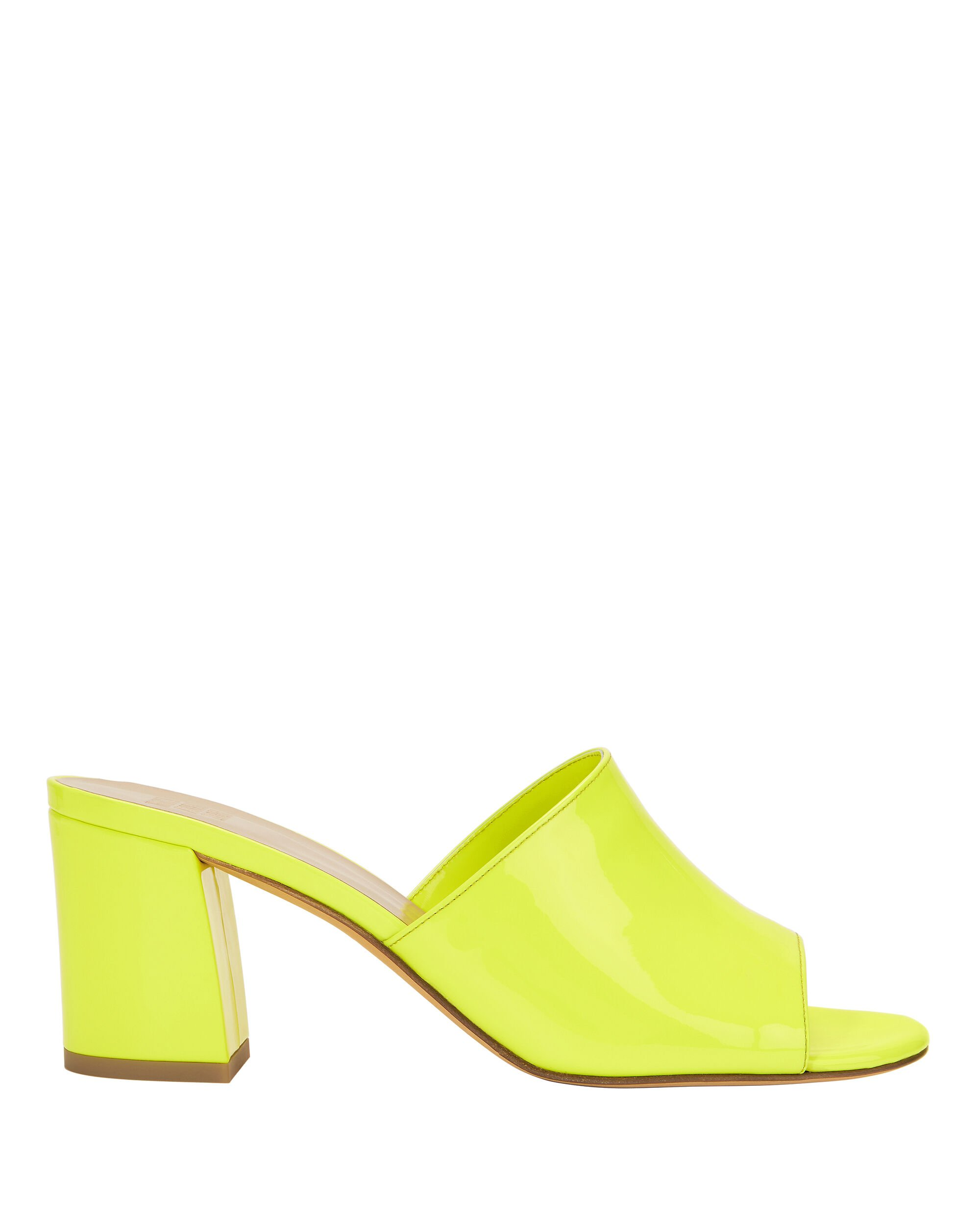 Mar Patent Yellow Leather Slides, YELLOW, hi-res