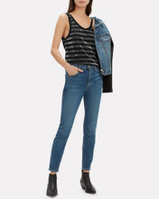 Colton Striped Silver Lurex Tank, SILVER, hi-res