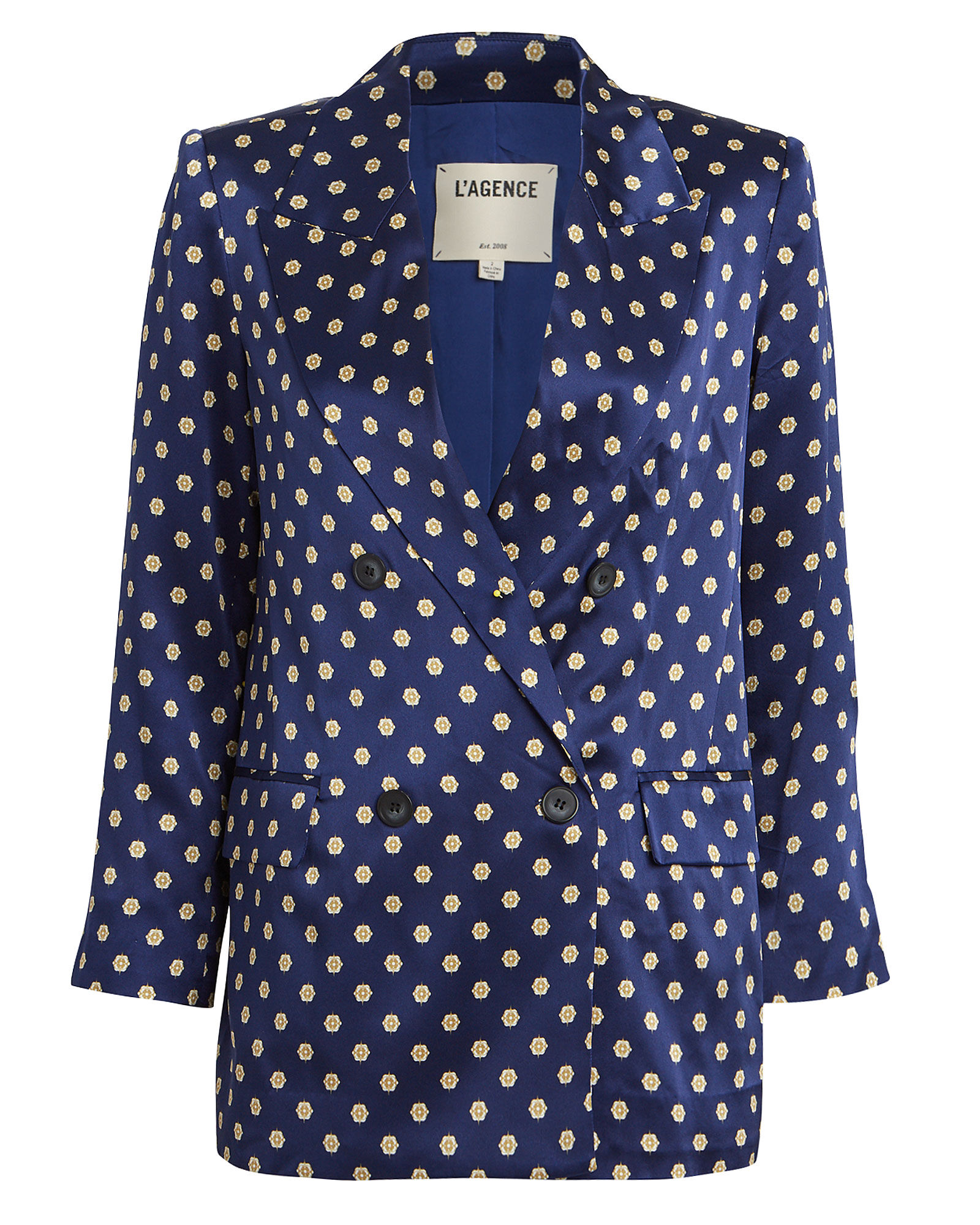 Taryn Printed Double Breasted Blazer, SAPPHIRE/GOLD, hi-res
