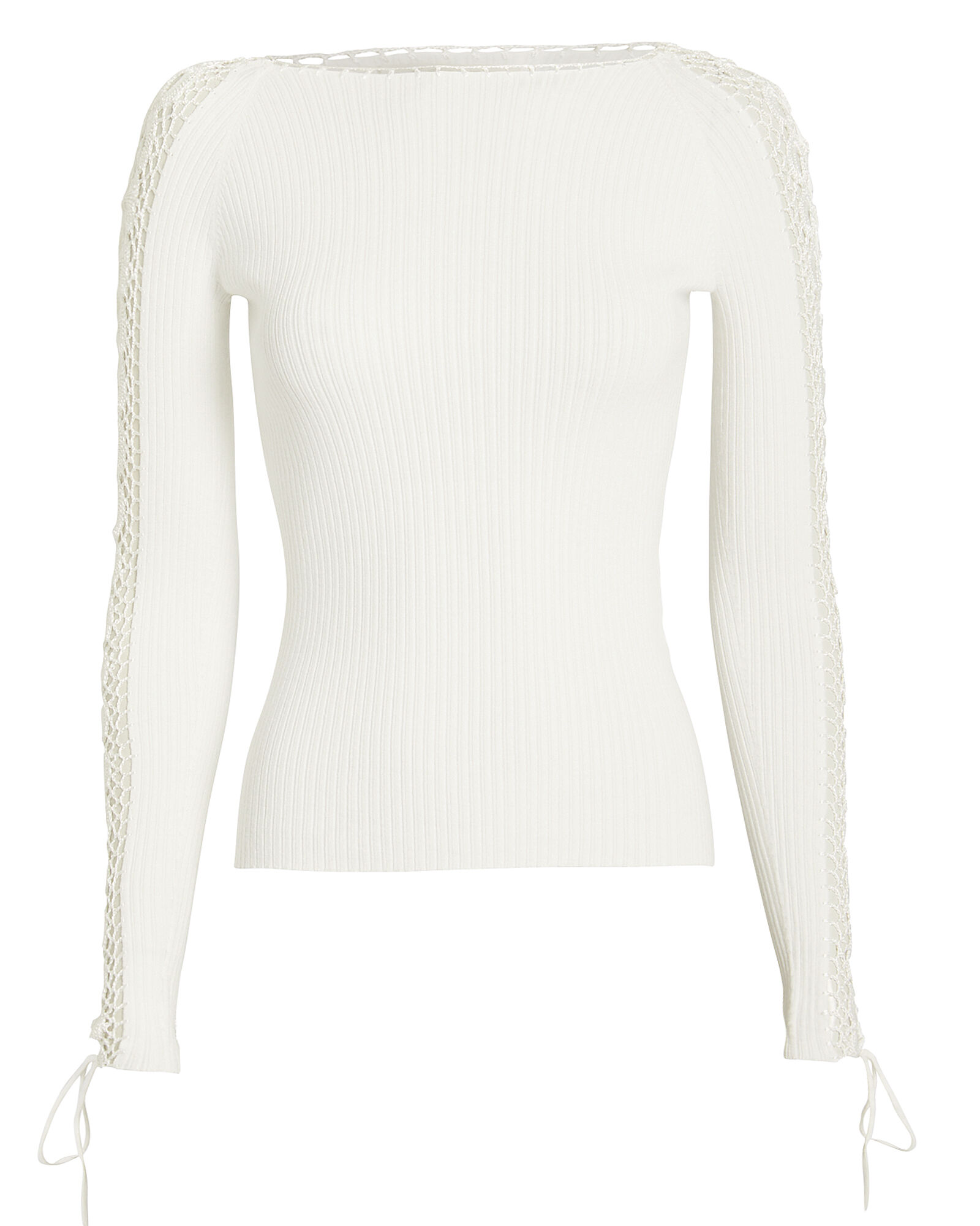 Crochet Sleeve Ribbed Top, WHITE, hi-res