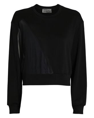 Overland Vegan Leather-Trimmed Sweatshirt, BLACK, hi-res