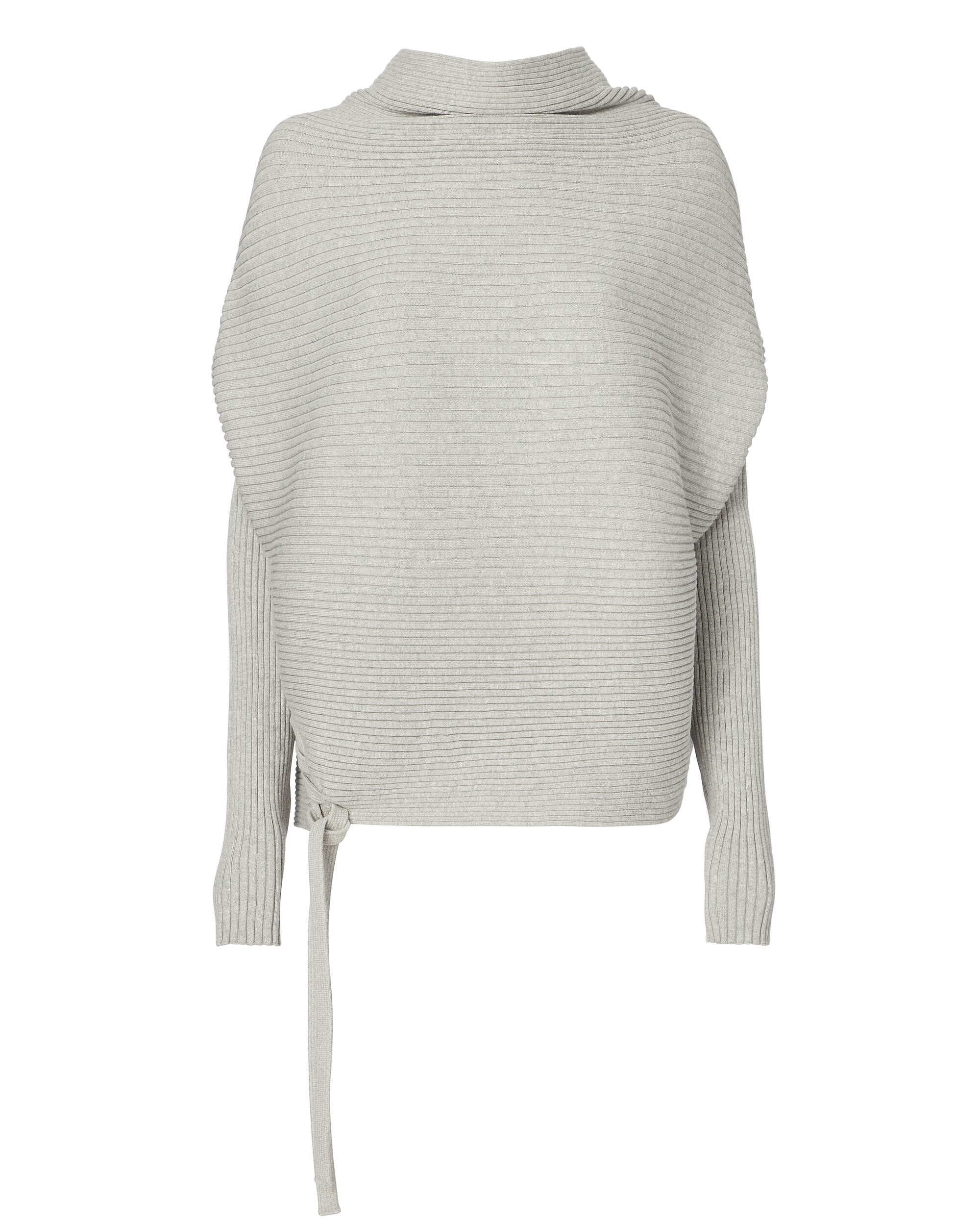 Ribly Lace-Up Side Sweater, GREY, hi-res