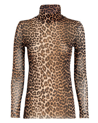 Printed Mesh Leopard Turtleneck, BROWN, hi-res