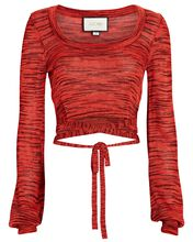 Loli Space Dyed Knit Crop Top, RED, hi-res
