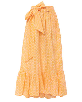 Nicole Eyelet Ruffle Hem Orange Skirt, ORANGE, hi-res