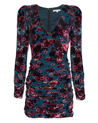 Floral Velvet Burnout Ruched Mini Dress, MULTI, hi-res