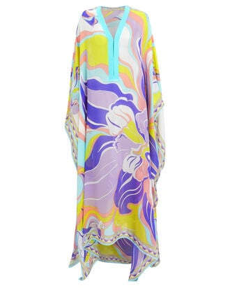 Silk Printed Long Sleeve Kaftan, TURQUOISE/ABSTRACT, hi-res