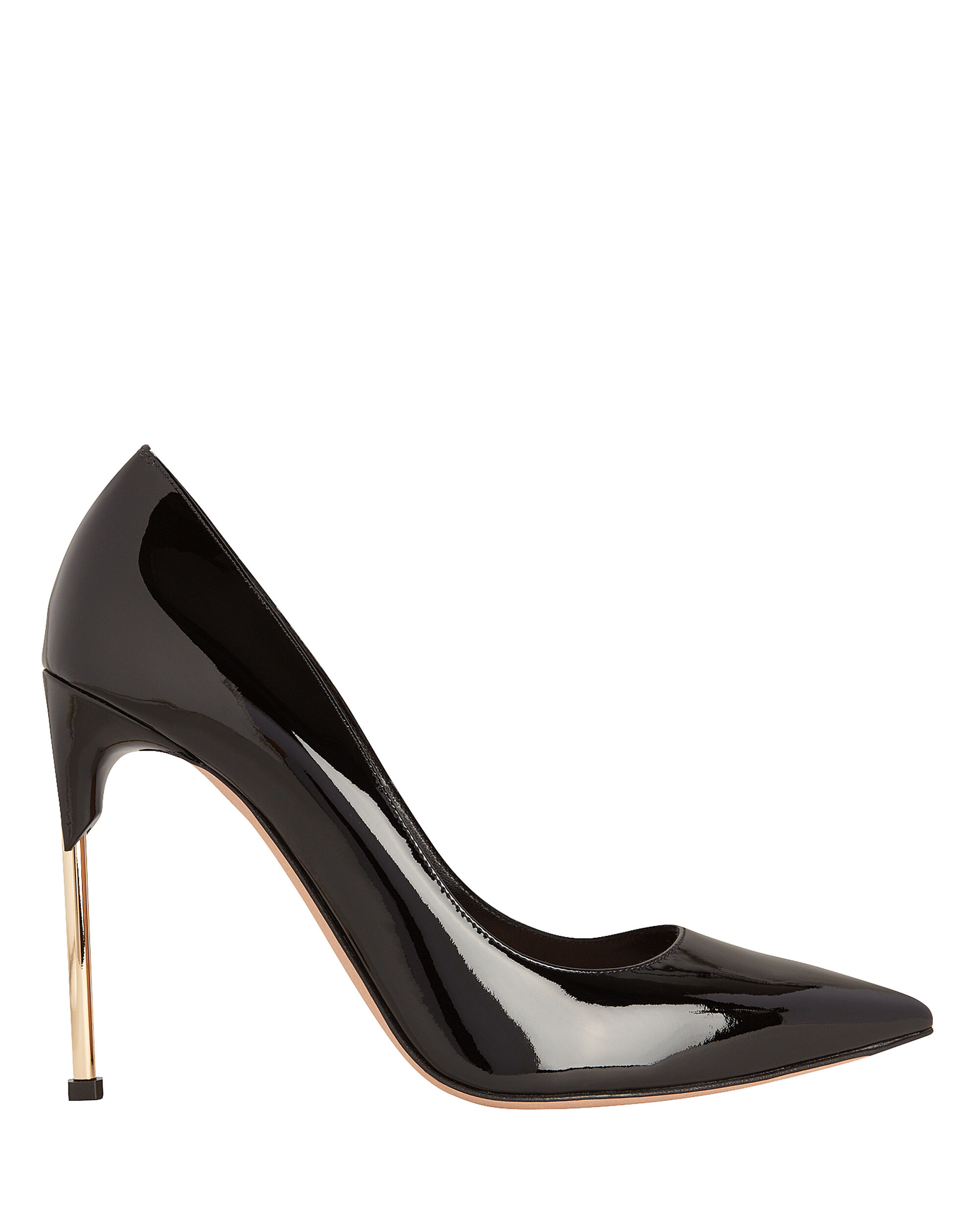 Metal Heel Pumps, BLACK, hi-res