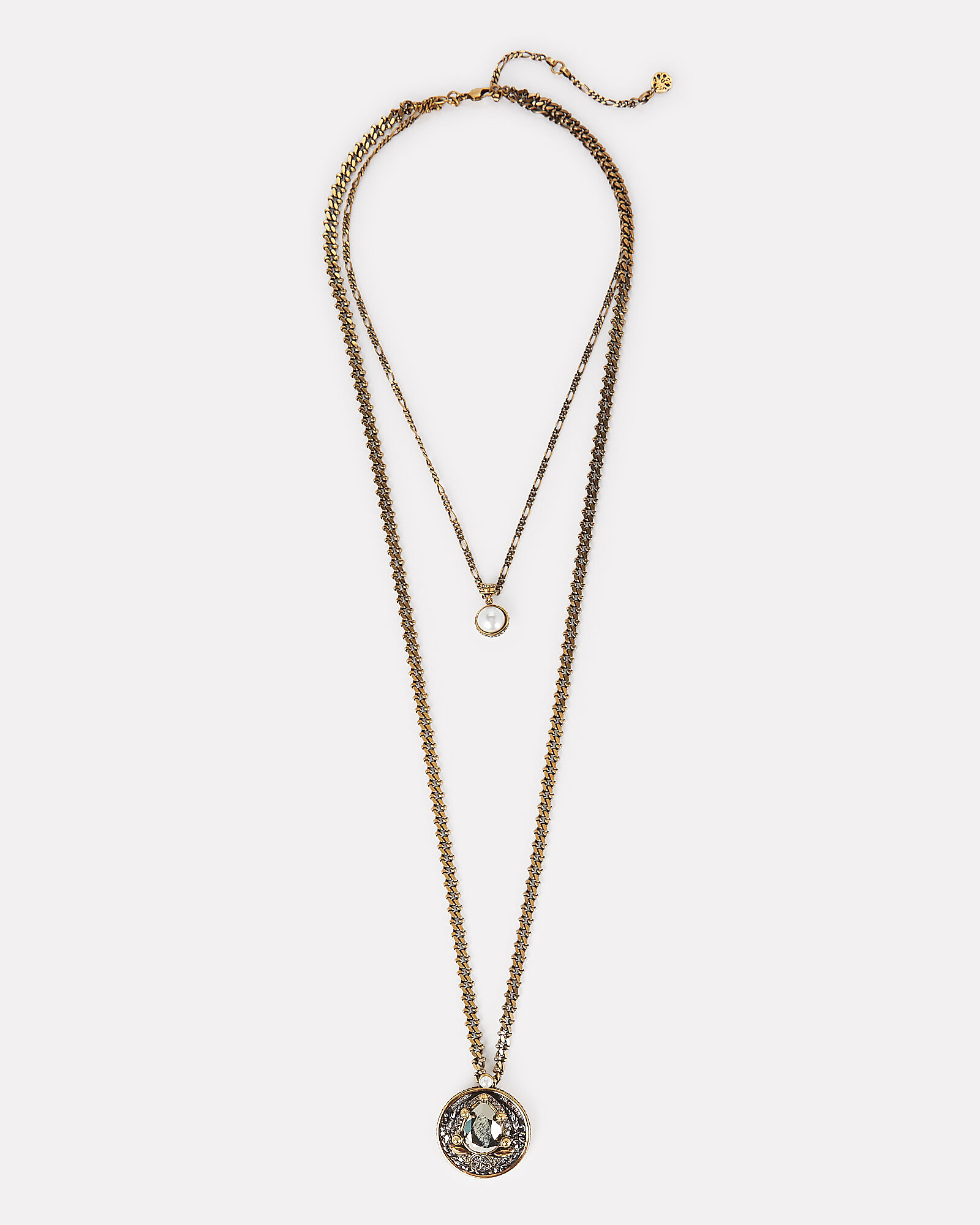 Signature Long Layered Chain Necklace, GOLD, hi-res