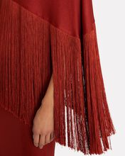 Zenith Fringed One-Shoulder Gown, RED, hi-res