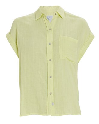 Whitney Short Sleeve Button-Down Shirt, YELLOW, hi-res