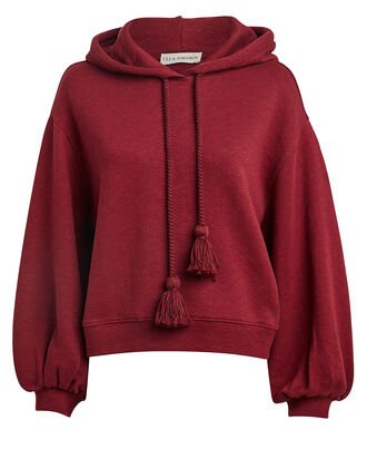 Mel Cotton Oversized Hoodie, WINE, hi-res
