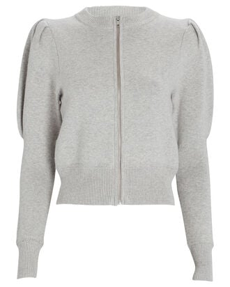 Lemmy Puff Sleeve Zip-Up Cardigan, GREY, hi-res