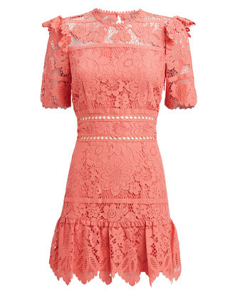 Sigourney Lace Dress, CORAL, hi-res