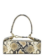 Olivia Snake-Embossed Leather Bag, BEIGE, hi-res
