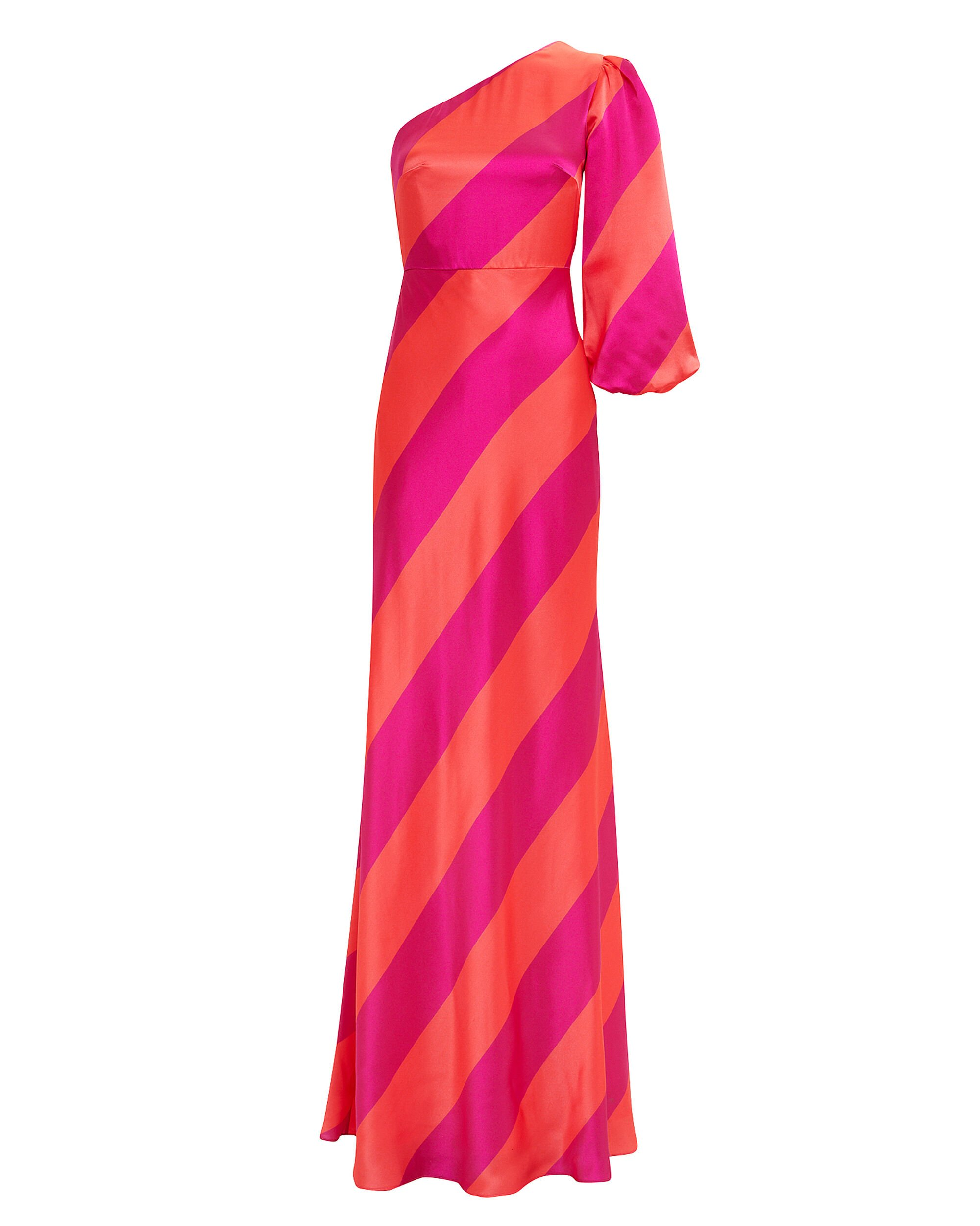 Lily One Shoulder Striped Gown, PINK/ORANGE, hi-res