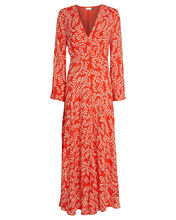 Sonja Floral Midi Dress, RED, hi-res
