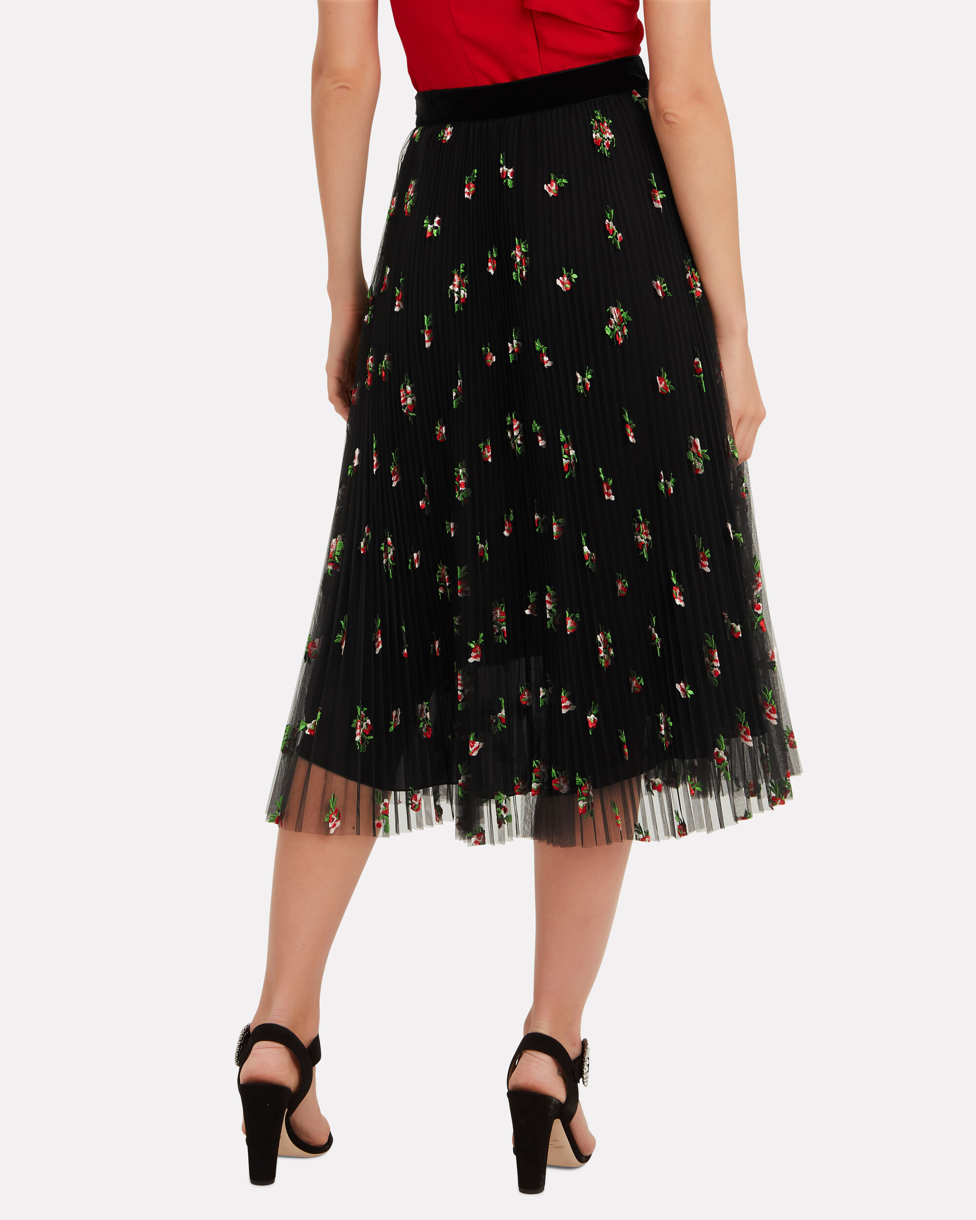 Floral Tulle Skirt, BLACK, hi-res