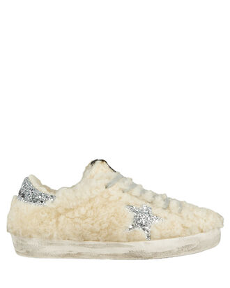 Superstar Shearling Low-Top Sneakers, IVORY/SILVER, hi-res