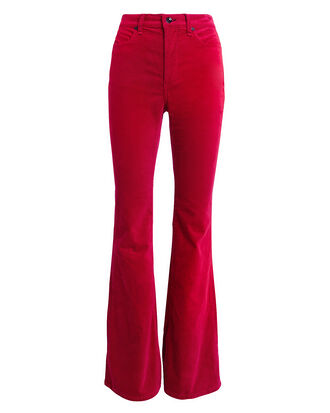 Bella Red Velvet Flare Pants, RED, hi-res