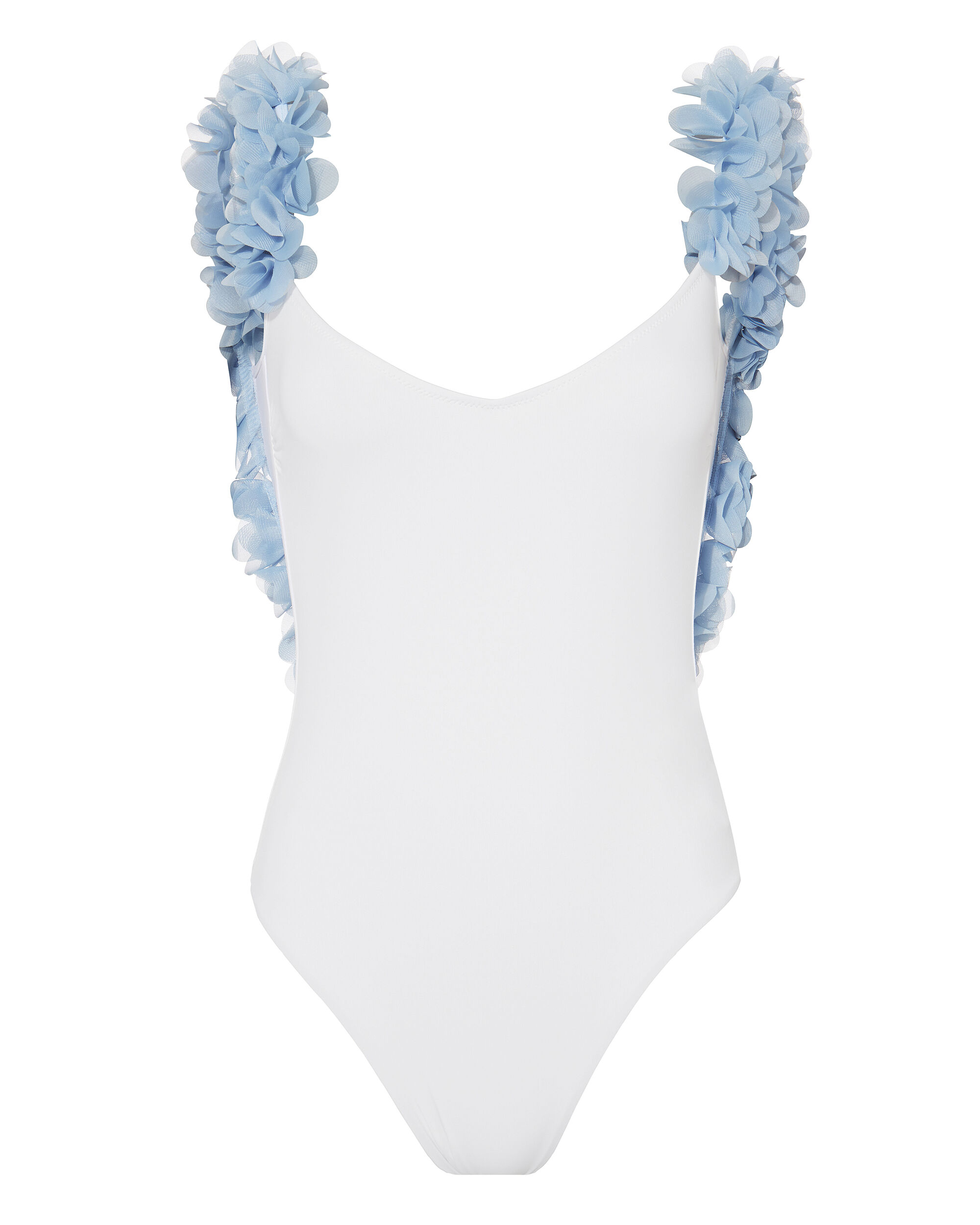 Amira Blue Petal White One Piece Swimsuit, WHITE, hi-res