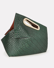 Athaarah Croc-Embossed Leather Clutch, EMERALD, hi-res