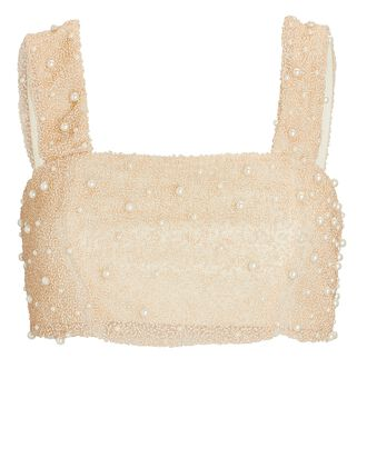 Mare Beaded Crop Top, IVORY, hi-res