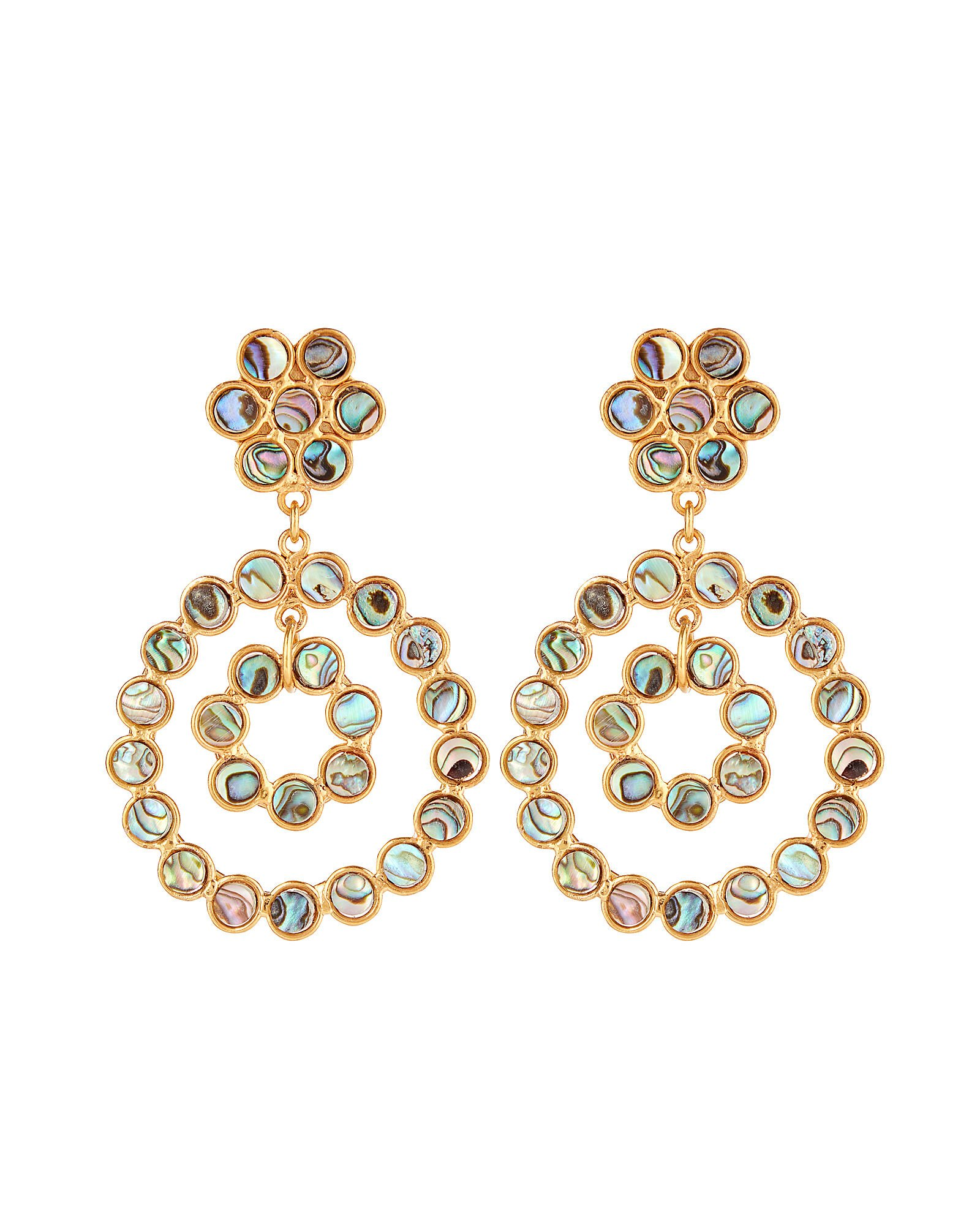 Flower Candies Abalone Hoops, GOLD/GREY, hi-res