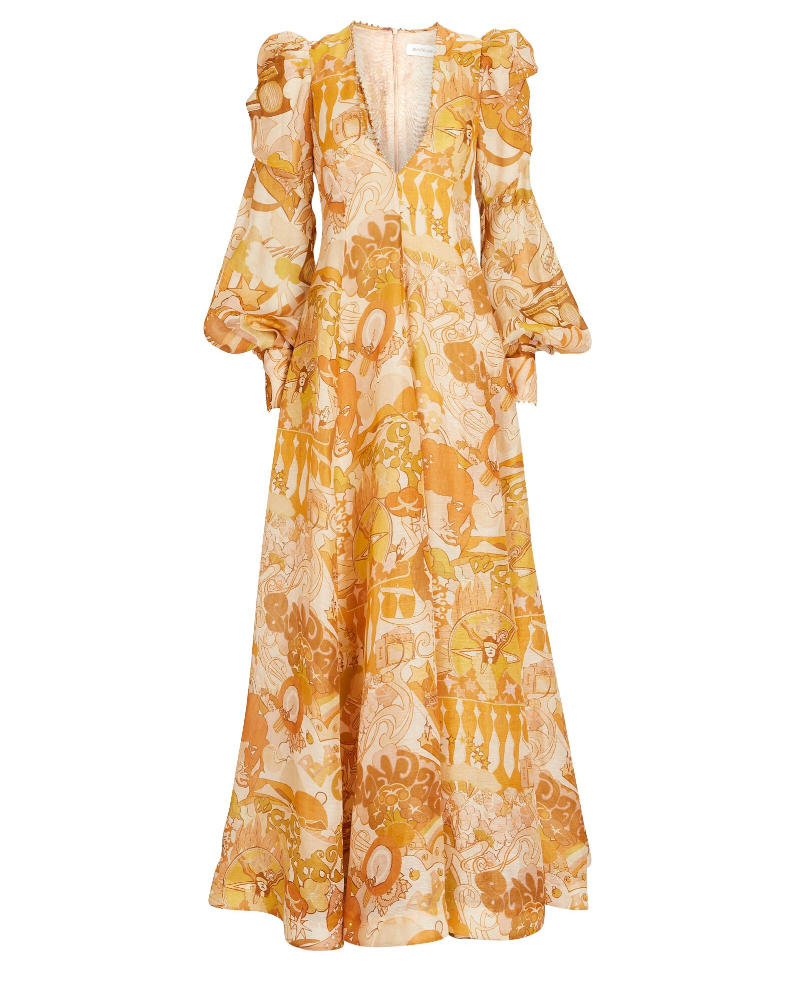 Tempo Puff Sleeve Collage Gown, MULTI, hi-res