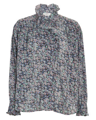 Pamias Ruffled Floral Button-Down Shirt, , hi-res