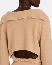 Wrap Open Back Polo Sweater, BEIGE, hi-res