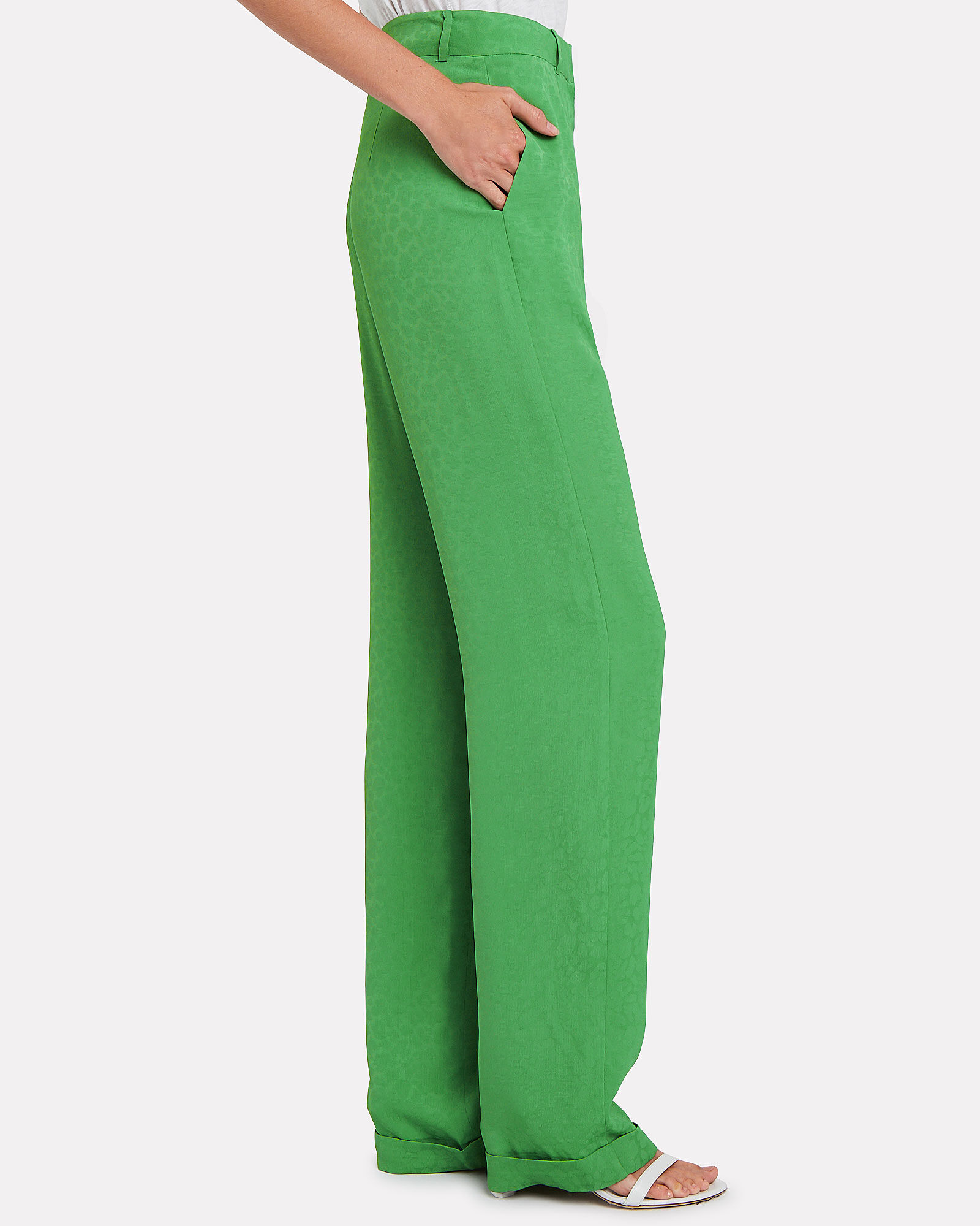 Leopard Jacquard Suiting Trousers, GREEN/LEOPARD, hi-res